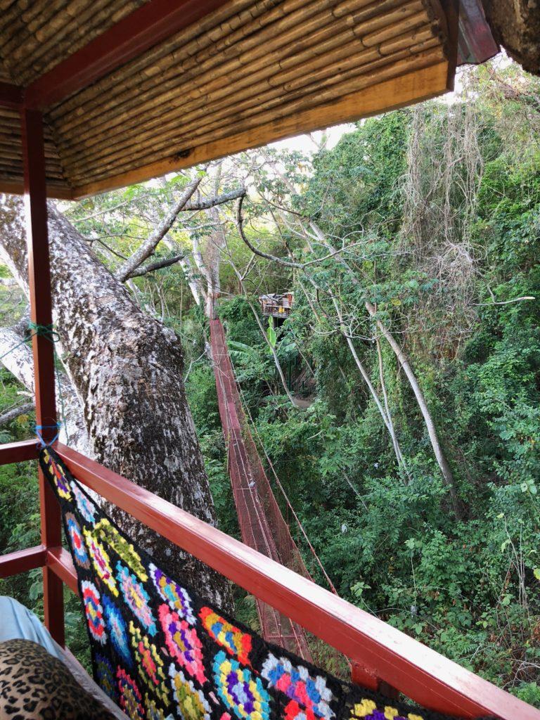 red bridge treehouse